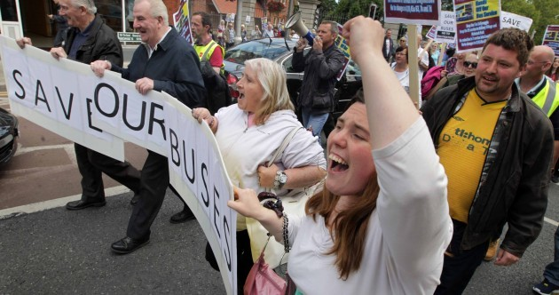 Dun Laoghaire residents protest against bus route cutbacks
