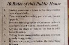 A Rathfarnham pub's 'rules' went down a storm on the internet