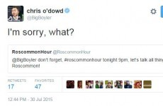 Chris O'Dowd had priceless run in with a Roscommon-themed Twitter account this evening