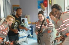 The cast of the female Ghostbusters visited a hospital... and were viciously trolled on Facebook