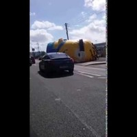 There's finally some video footage of the giant inflatable Minion causing havoc in Santry