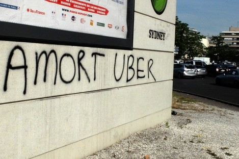An anti-Uber slogan in Paris last from June.