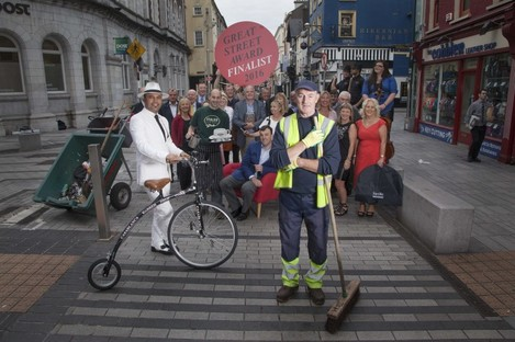 Business owners and residents on Oliver Plunkett Street celebrate their nomination.