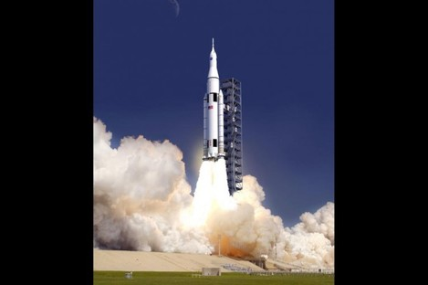 An artist's depiction of what the SLS will look like when it launches.