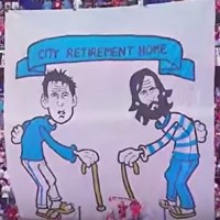 Fans troll Lampard and Pirlo with 'Retirement Home' banner