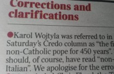 The Times just landed newspaper correction of the week with a howler about the Pope