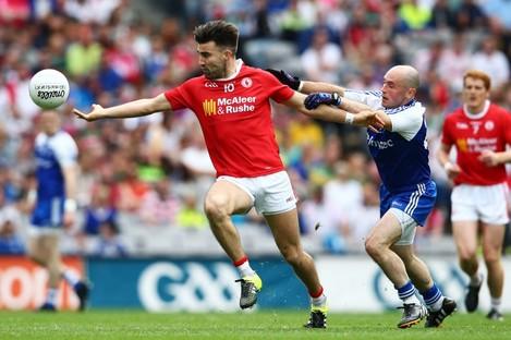 Tyrone's Tiernan McCann in action against Monaghan's Stephen Gollogly last Saturday.