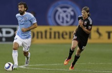 Ah, stop it! Andrea Pirlo splits the defence with a delicious assist for David Villa