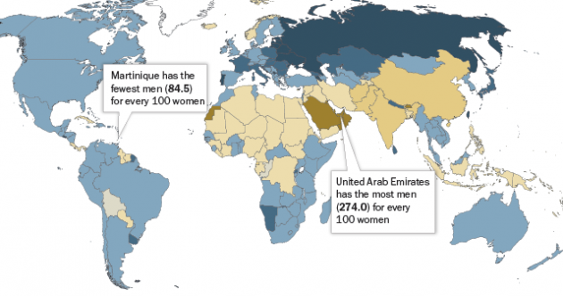 This map shows where women outnumber men around the world