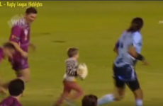 Toddler scores a try in Australian rugby match