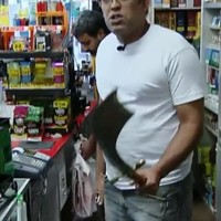 'Ninja' raiders with knife chased away by sword-wielding store owner