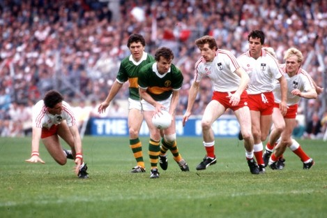 Mikey Sheehy in action against Tyrone in the 1986 final