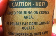 A coffee cup with the worst French and German writing on the side is going super viral