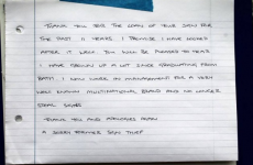 A student robbed a sign from college and returned it 11 years later with this note