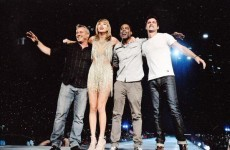 Taylor Swift welcomed another weird collection of celebrities to the stage last night