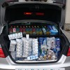 This boot full of booze and smokes was seized after a car got off the boat from Wales