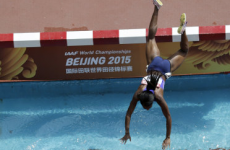 Panama's Rolanda Bell went head-first into the water during the steeplechase earlier