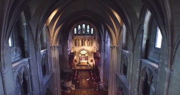 Watch: Drone captures stunning views of inside St Patrick's Cathedral