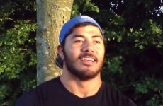 Manu Tuilagi sends good luck message to England squad... while wearing a Samoa hat