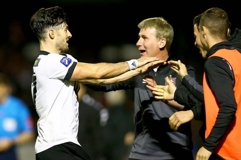 Richie Towell hugs Dundalk boss Stephen Kenny after his equaliser.