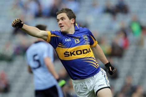 Liam McGrath of Tipp celebrates scoring the first goal of the game.