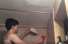 This guy's standoff with a spider hanging out in his bathroom is tense as hell