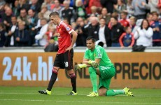 Romero at fault as Swansea's dynamic duo Ayew and Gomis hand Man United first defeat of the season