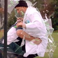 120kg Adam Jones teaches you how to tackle someone through a sheet of glass