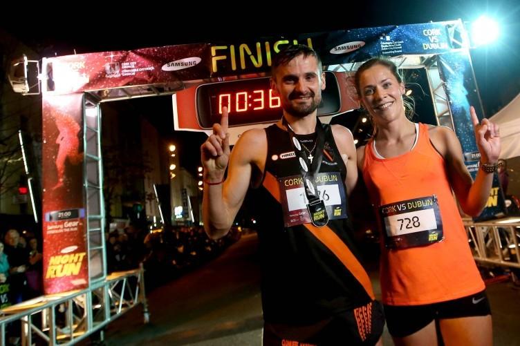 Sergiu Ciobanu and first place female Orla Drumm at last year's Samsung Night Run.