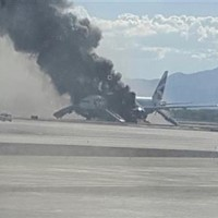 A British Airways plane leaving Las Vegas caught fire in the middle of take off