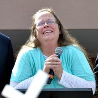 Anti-gay marriage clerk released from jail, annoys Eye of the Tiger writer