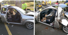 Somehow, nobody was seriously hurt in this six-car accident on the M50