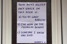 All new parents will relate to the hilarious sign on this Mam's front door