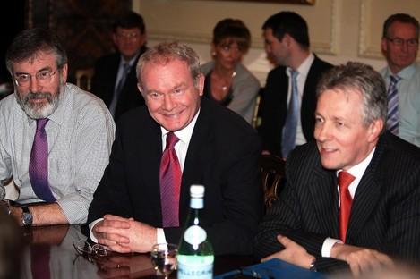 Adams, Martin McGuinness and Peter Robinson.