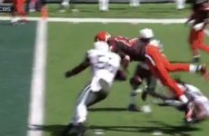 Johnny Manziel is already throwing touchdowns after this huge hit on Josh McCown