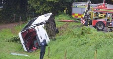 'The bus flipped and we all dropped to one side': Four students hospitalised after school bus overturns