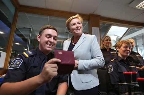 Minister for Justice and Equality Frances Fitzgerald at the airport yesterday