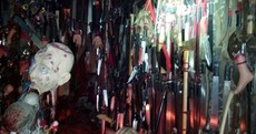 Police find 3,714 knives, a shrine and fake body parts during terrifying arrest