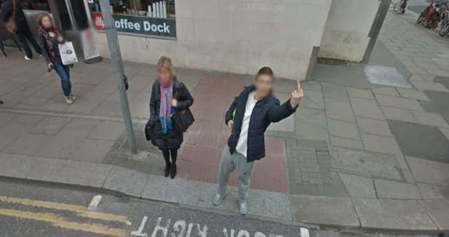 One Dublin lad gave the Google street view car a very Irish welcome