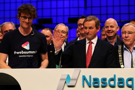 Taoiseach Enda Kenny rings the Nasdaq bell with Web Summit CEO Paddy Cosgrave last year