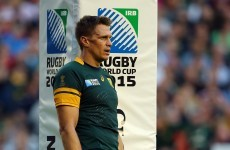 Jean de Villiers went back on the field with a broken jaw yesterday, but now he's out of the RWC