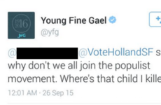 Young Fine Gael hopes this tweet about killing a child didn't cause offence