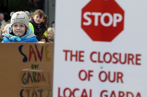 People at a demonstration protesting the closure of Stepaside Garda Station in Dublin.