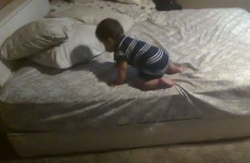 A baby was stranded on his bed... so he came up with a genius solution for getting off
