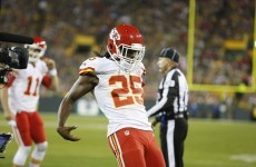 Jamaal Charles ripped off the Lambeau Leap and Aaron Rodgers' TD celebration last night