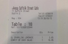 This whopper lunch receipt from a Dublin café has raised some eyebrows