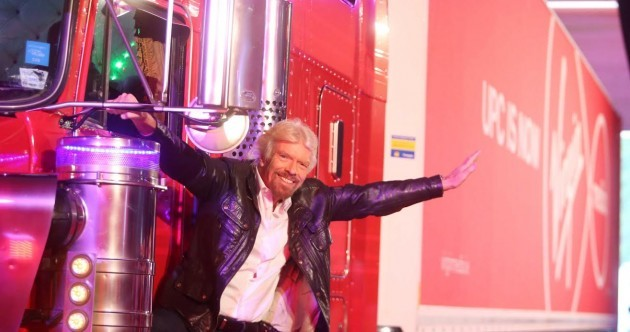Richard Branson rode in on a massive truck and picked up one of our women