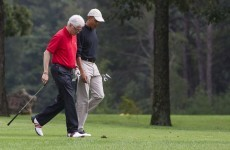 Presidential putting pals, Obama and Clinton, hit the links
