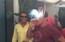 Arnold Schwarzenegger totally ruined this lad's photo with Sylvester Stallone