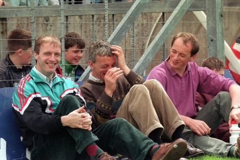 Niall Cahalane (right) pictured with former Cork teammates Larry Tompkins (left) and Conor Counihan (centre) in 1993.